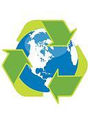 Recycle symbol surrounding the globe