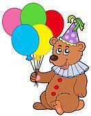 Clown bear with balloons