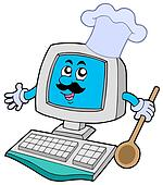 Computer chef with spoon