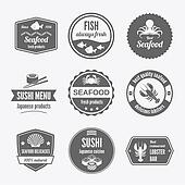 Seafood label set black
