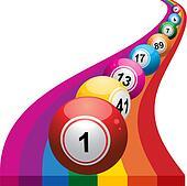 Bingo balls on rainbow background