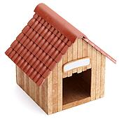 Wooden doghouse isolated on white background