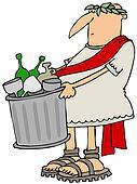 Roman man taking out the garbage
