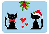 Christmas illustration with two cats