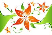 Abstract flower background with butterfly