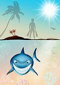 funny illustration of shark