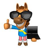Wear sunglasses 3D Horse Mascot the left hand best gesture and right hand is holding a laptop. 3D Animal Character Design Series.