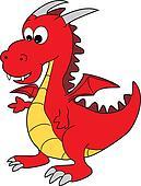 Cute Red Cartoon Happy Dragon Character