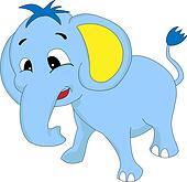 Cute Blue Baby Elephant