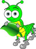 Cute Cartoon Big Eyed Caterpillar Holding A Leaf