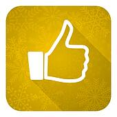like flat icon, gold christmas button, thumb up sign