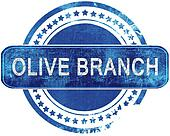 olive branch grunge blue stamp. Isolated on white.