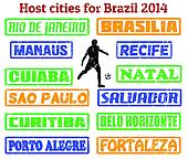 Host cities for Brazil 2014 stamps