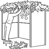 Jewish Guy Builds Sukkah For Sukkot Coloring Page