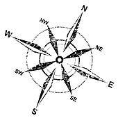 distressed compass rose