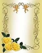 Wedding Invitation Yellow Roses Border