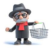 3d Old man with shopping basket