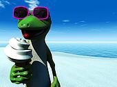 Cool cartoon gecko eating ice cream on the beach.