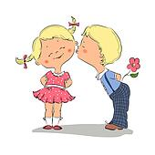 Illustration of kissing boy and girl