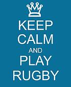 Keep Calm and Play Rugby Blue Sign