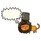 cartoon lion in top hat with speech bubble