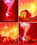 Set of Valentine`s day backgrounds with open gift boxes and hearts. Vector.