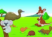 Cartoon Animals in Australian Outba