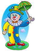 Cartoon clown holding umbrella