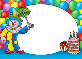 Round frame with clown and balloons