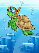 Sea turtle snorkel diver underwater