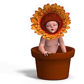 baby in flower pot