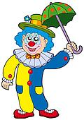 Funny clown holding umbrella