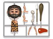 3d Plastic caveman construction kit