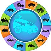 Hot Rod Race Car Wheel Icon Set