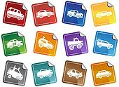 Hot Rod Race Car Sticker Icon Set