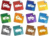 Hot Rod Race Car Sticker Icon Set