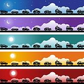 Hot Rod Race Car Banner Icon Set