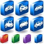 Hot Rod Race Car 3D Icon Set