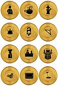 Hotel Gold Coin Icon Set