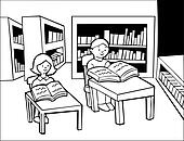 Children Library Reading Line Art