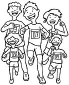 Marathon Kid Race Line Art