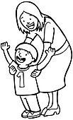 Mother Teaching Child Line Art