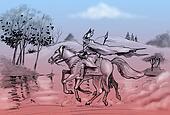 Odin rides his horse Sleipnir