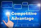 Touch screen digital interface of Competitive advantage concept