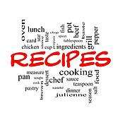 Recipes Word Cloud Concept in red caps