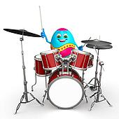 Happy Easter Egg with drum sticks
