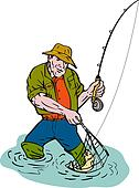 Cartoon fisherman fly fishing