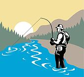 Fisherman in river with fly rod side view