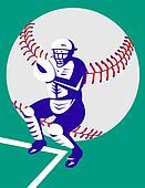 Baseball catcher on base