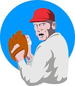 Baseball pitcher on blue circle